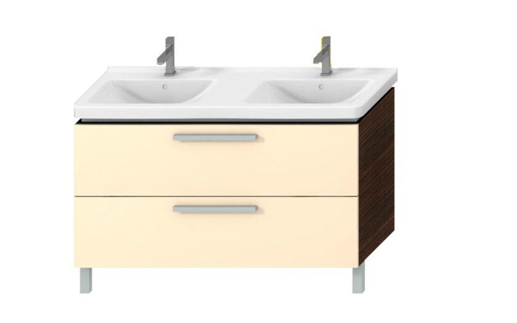JIKA CUBITO skříňka pod dvojumyvadlo 130cm wenge/béžová 5014.2(449) I.j. - Doprodej koupelnového vybavení / Koupelnový nábytek v doprodeji / Skříňky pod umyvadlo ve slevě