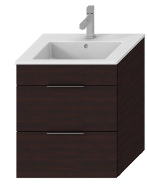 JIKA CUBE skříňka vč.umyvadla, 2 zásuvky 65cm, tmavý dub 5360.2 (ch302) I.j. - Koupelnový nábytek / Skříňky pod umyvadlo / Katalog koupelen