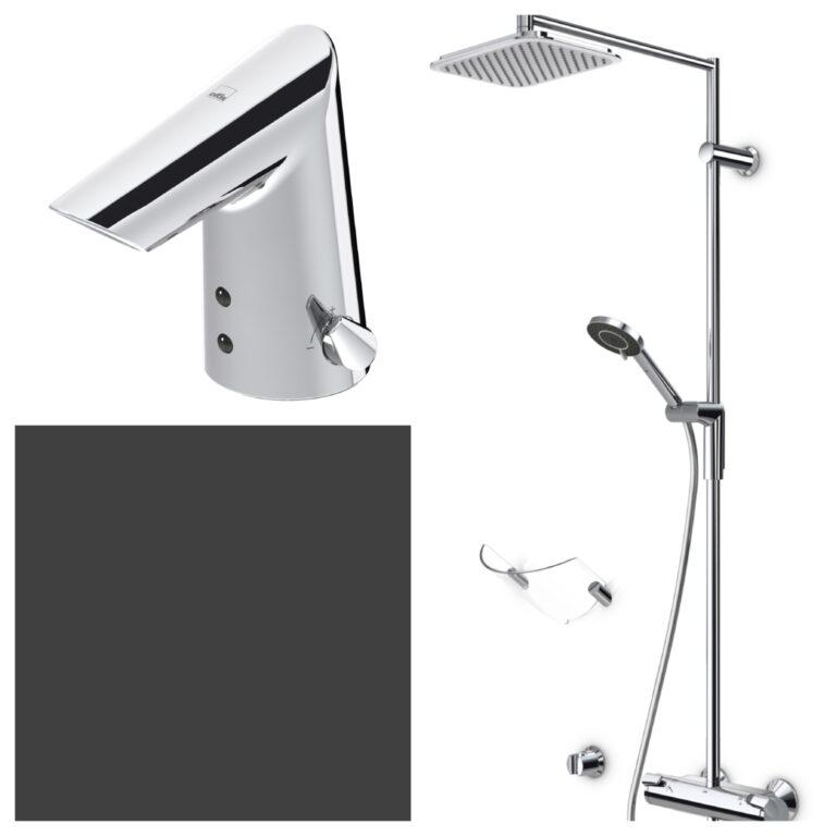 ORAS termostatický sprchový set a umyvadlová baterie OPTIMA - Doprodej koupelnového vybavení / Vodovodní baterie v akci / Sprchové sety za zvýhodněné ceny