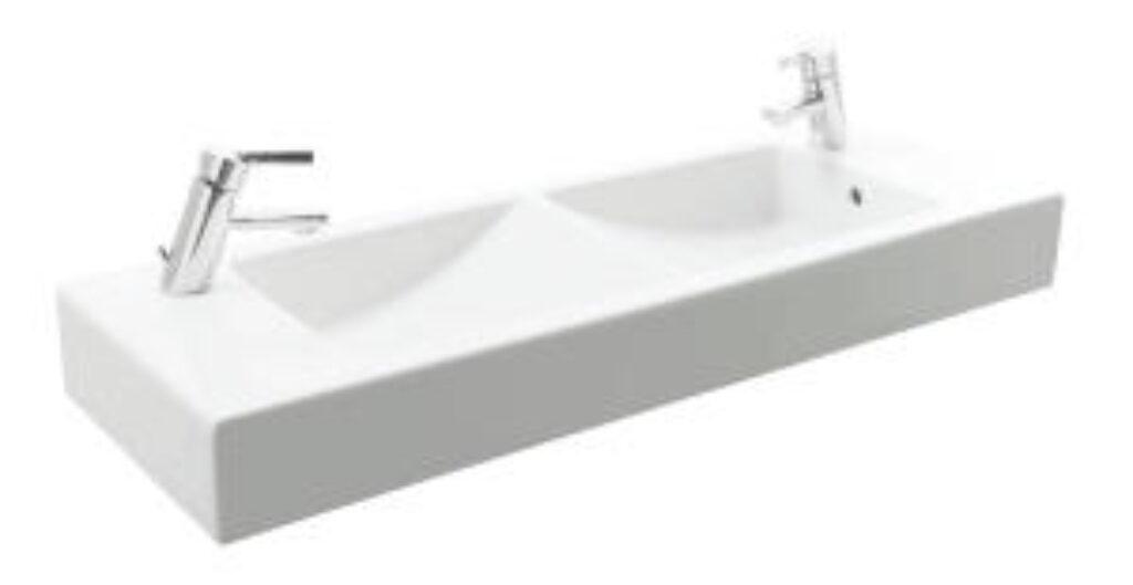JIKA PURE dvojumyvadlo 100cm se 2 otvory pro baterii 1442.2(ch104) I.j. - Doprodej koupelnového vybavení / Sanitární keramika / Umyvadla do koupelny