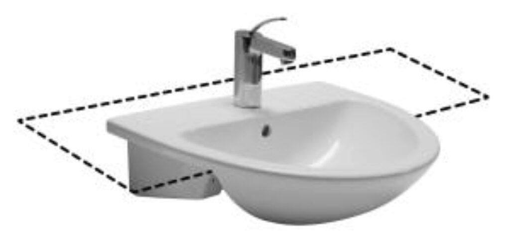 MIO umyv.polozápustné 55x43cm bílé 1671.1(ch104) I.j. - Doprodej koupelnového vybavení / Sanitární keramika v doprodeji / Umyvadla do koupelny v akci
