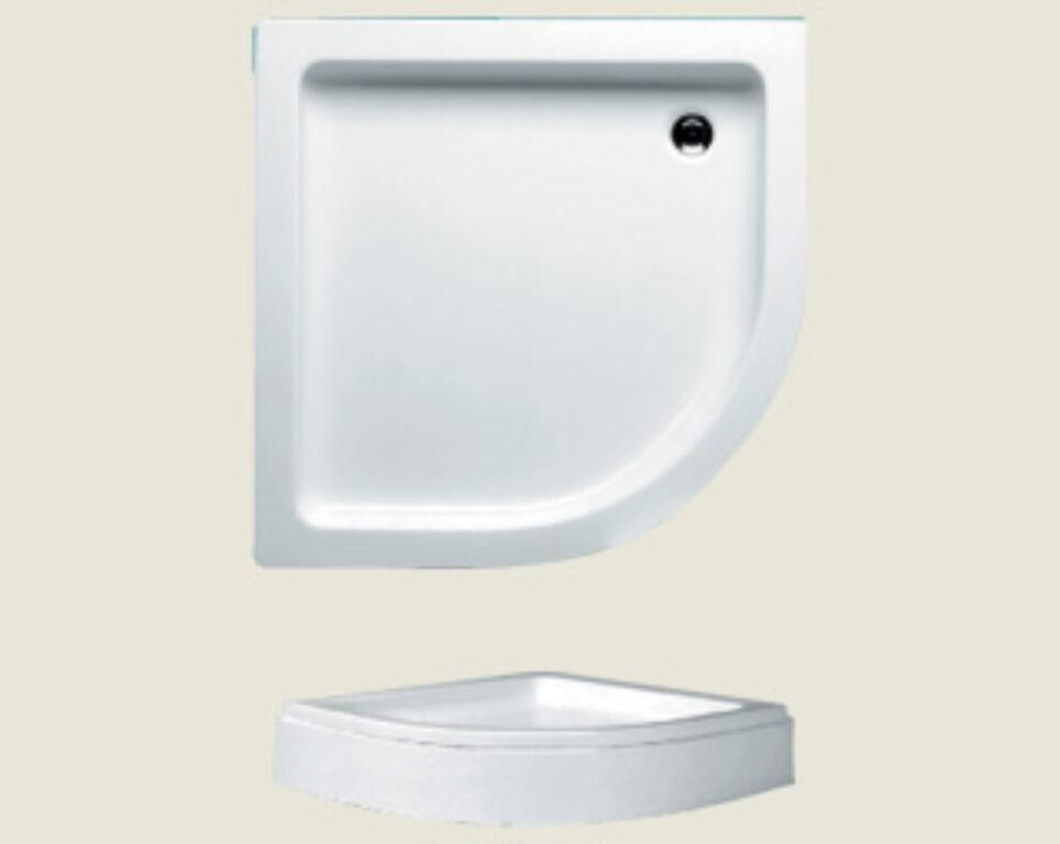 RIHO vanička DA19 SV210 čtvrtkruh 90/90/8,5 R550 bílá+nohy,panel I.j. - Sprchové kouty pro koupelny / Sprchové vaničky do koupelny / Katalog koupelen