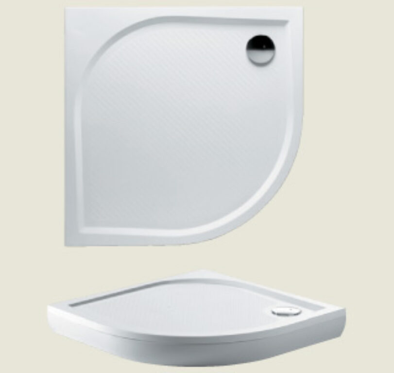 RIHO vanička DB10 Kolping 80/80/3 litý mramor bílá - Sprchové kouty pro koupelny / Sprchové vaničky do koupelny / Čtvrtkruhové vaničky
