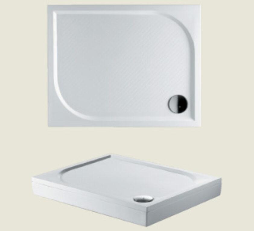 RIHO vanička DB31 Kolping 100/80/3 litý mramor bílá I.j. vč.sifonu - Sprchové kouty pro koupelny / Sprchové vaničky do koupelny / Obdelníkové vaničky