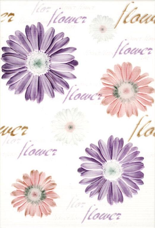 Dekor k obkladu Fantastic B15 lila (květiny) 25/36,5 - Doprodej obkladů a dlažeb / Keramické obklady a dlažby