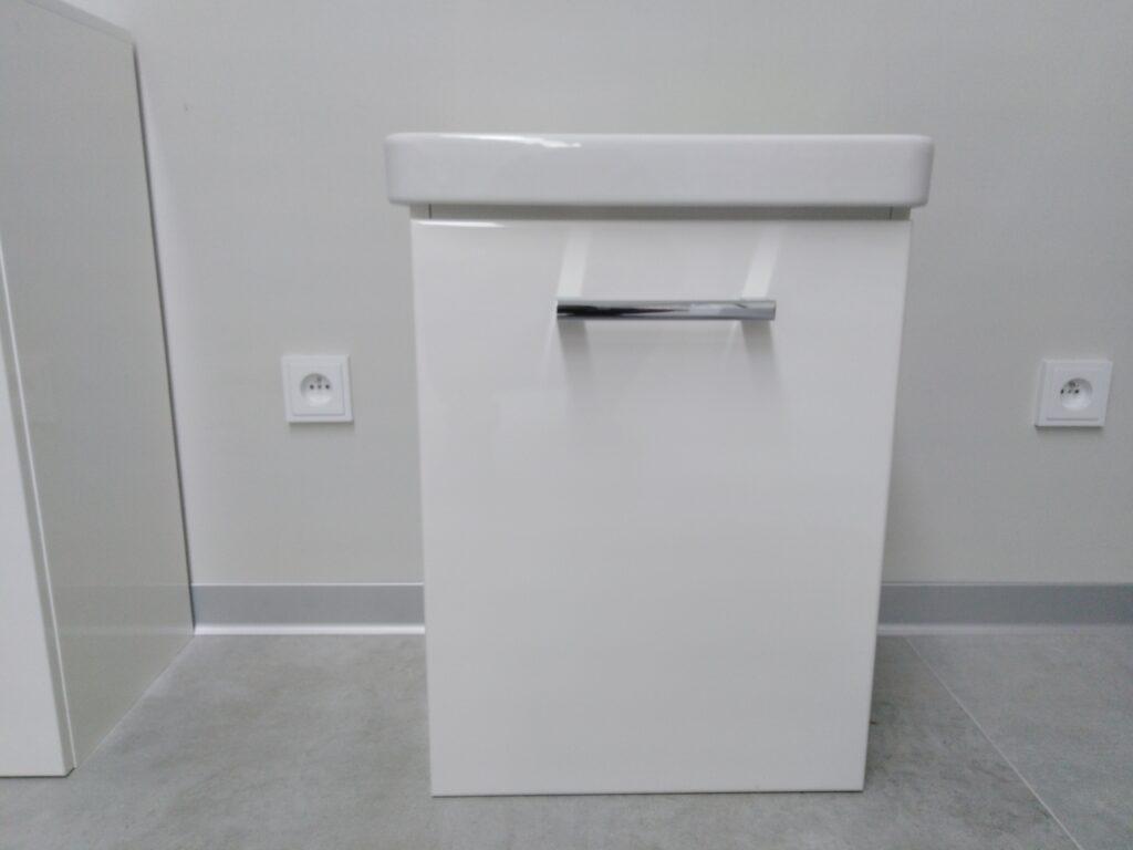 JANTAR závěsná skříňka s keramickým umyvadlem JA45D/PL1L1bílá lesk/bílá lesk - Doprodej koupelnového vybavení / Koupelnový nábytek v doprodeji / Skříňky pod umyvadlo ve slevě