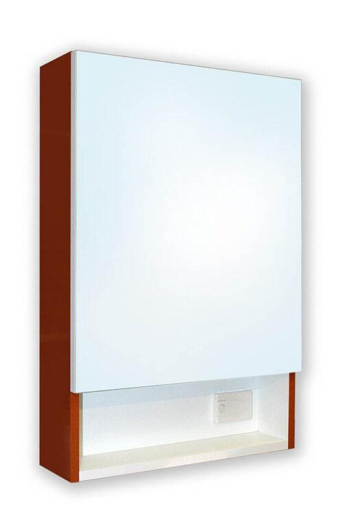 MELODY zrcadlová skříňka se světlem bílá/hnědá - Koupelnový nábytek