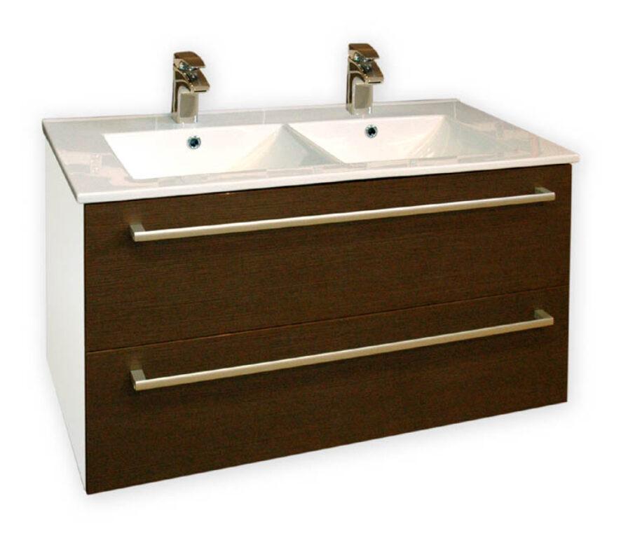 ALAMO WENGE  skříňka  s umyvadlem 75cm,  woodline mocca - Koupelnový nábytek / Skříňky pod umyvadlo