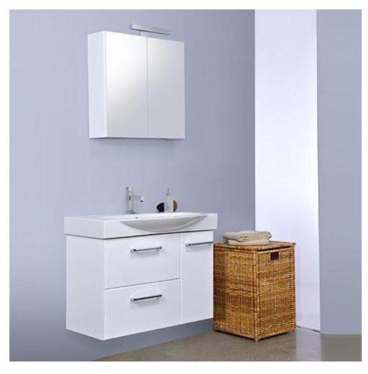 TYRKYS Závěsná skříňka s keramickým umyvadlem 105cm bílá/dub chateau antracitový - Koupelnový nábytek / Skříňky pod umyvadlo / Katalog koupelen