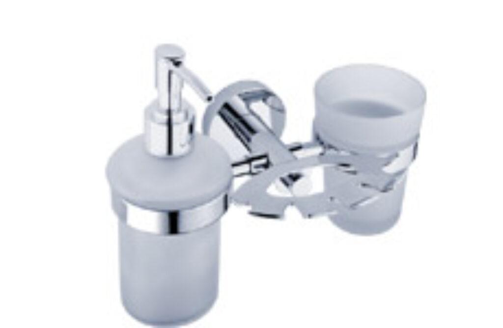 NIMCO-Unix držák dávkovače 180ml,kartáčků a sklenky ros.sklo/plast UN1305731C-P - Doprodej koupelnového vybavení / Koupelnové doplňky v doprodeji / Doplňky do koupelny