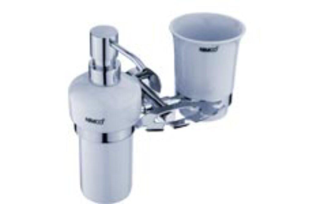 NIMCO-Unix držák kartáčků, dávkovače 200ml a pohárku keramika/kov UN1305731K-26 - Doprodej koupelnového vybavení / Koupelnové doplňky / Doplňky do koupelny