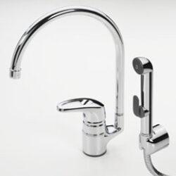 ORAS SAFIRA stojánková baterie s vysokým raménkem s ruční sprškou Bidetta 1033-Umyvadlová baterie k postavení na umyvadlo a s bidetovací sprškou k WC. Hygienický pomocník do každé koupelny