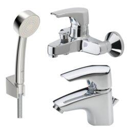 ORAS umyvadlová a sprch./vanová bat. SAGA a sprchový set APOLLO 1904F+1940Y+532-Set vanové baterie, sprchové soupravy a umyvadlové baterie v jednotném designu. Vhodné do každé koupelny