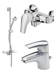 ORAS umyvadlová a sprchová baterie SAGA a sprchový set APOLLO 1904F+1960Y+520-Souprava umyvadlové, sprchové baterie a sprchového setu Vhodné do každé koupelny