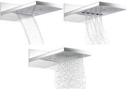 HG Raindance Rainfall horní sprcha chrom 28411000-Raindance Rainfall 240 Air 3Jet - systém horní sprchy pro montáž na stěnu - plochý profil 280x540 mm - ovládání sprchy se musí provádět prostřednictvím 3 spotřebičů - 3 druhy proudu:       - sprchový proud RainAir           - 240 mm s technikou AirPower           - průtok cca 17 l/min. při 0,3 MPa       - masážní proud WhirlAir            - se 4 rotujícími jednotkami trysek            - průtok cca 16 l/min. při 0,3 MPa            - systém QuickClean proti vodnímu kameni      - přívalový proud RainFlow            - šířka 176 mm            - průtok cca 28 l/min. při 0,3 Mpa - připojovací blok pro montáž na iBox universal - nutná montáž s Highflow termostatem pod omítku (# 15715000) - není vhodná pro průtokový ohřívač K TOMU NUTNÉ: - základní těleso iBox universal (# 01800180)      (dvě základní tělesa iBox universal- pro Raindance Rainfall a termostatickou baterii Highflow) - vrchní sada uzavíracího ventilu DN20 # 15972000, základní těleso # 15970180 - vrchní sada uzavíracího a přepínacího ventilu Quattro DN20 # 15932000, základní těleso # 15930180