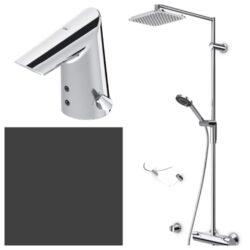 ORAS termostatická sprch. set OPTIMA + umyvadlová baterie OPTIMA 7192U+1714F-Sprchový set - horní hlavová sprcha, ruční sprcha, termostatická baterie, mýdlenka + umyvadlová betdotyková baterie Vhodné do každé koupelny