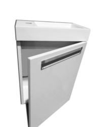 RIHO Lucca spodní skříňka pod umyvadlo F1LU10400512D00D00-Set umyvadla a skříňky - celková cena 5 123 Kč. Umyvadlo z litého mramoru.  Skříňka je otevírací s tichým dovíráním Vhodné do malé koupelny nebo na toaletu. Šířka umyvadla 40 × 22 cm
