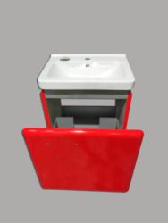 LB STAR skříňka spodní bez umyvadla ST55.3020 červená lesklá-Skříňka spodní VČETNĚ UMYVADLA, barva červená lesklá. Jeden šuplík, úchytka momentálně upevněna z vnitřní strany. Šířka 55 cm Vhodná do moderní koupelny